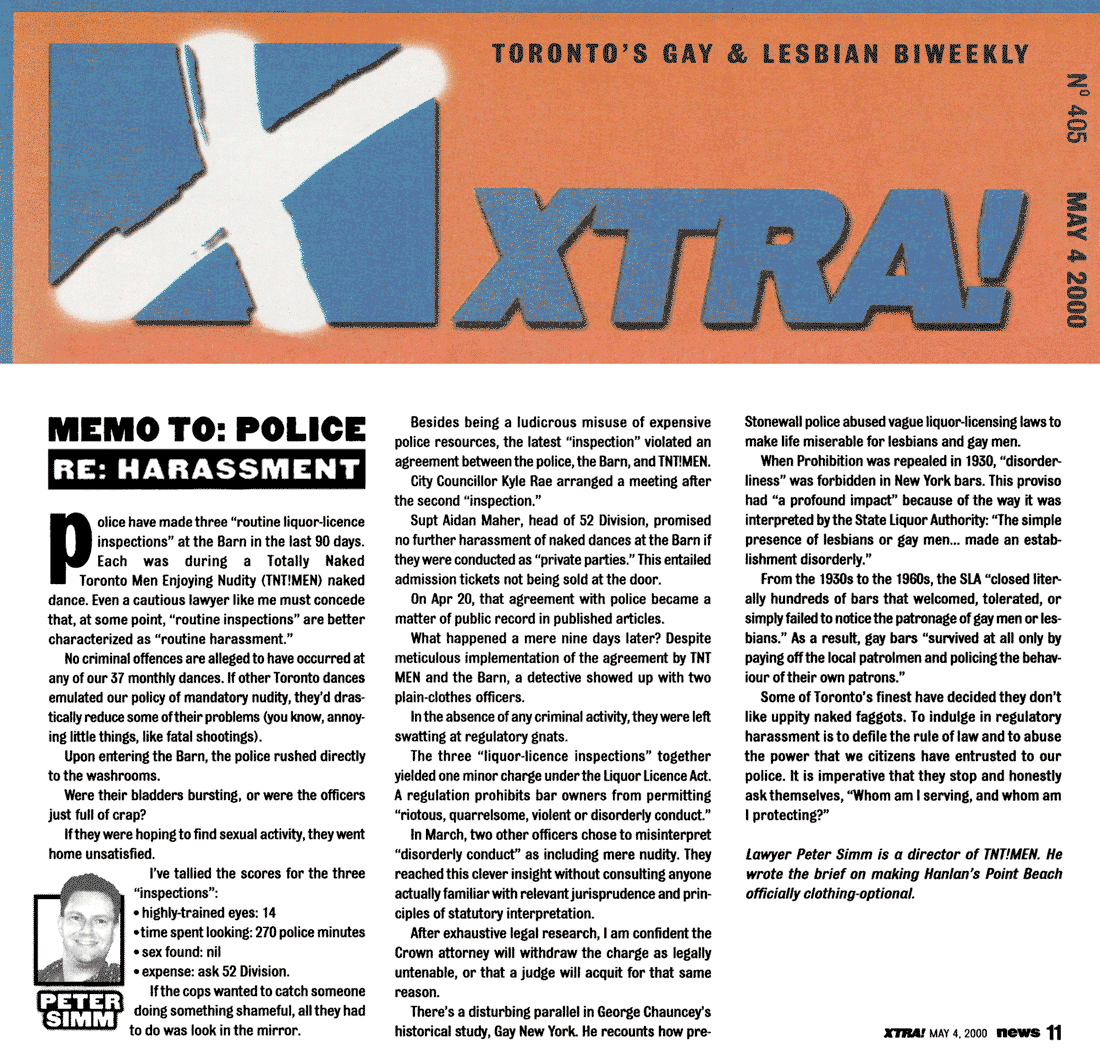 Xtra [Toronto] 2000-05-04 - Memo to Police re Harassment of The Barn